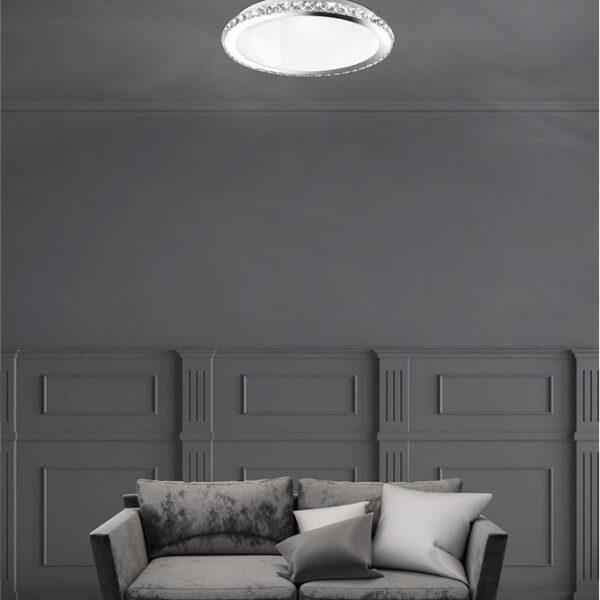 Φωτιστικό οροφής  - κρύσταλλα K9, μέταλλο και λευκό γυαλί - D38 - Palermo - Nova Luce