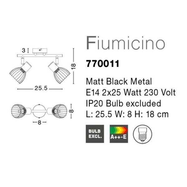 Spot μεταλλικό - δύο φώτα - Fiumicino - Nova Luce