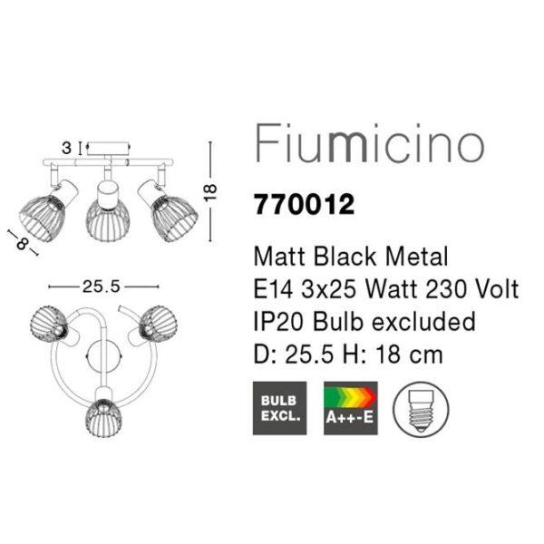 Spot μεταλλικό οροφής - τρία φώτα - Fiumicino - Nova Luce