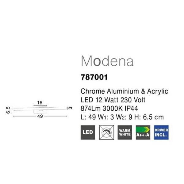 Spot led τοίχου - αλουμίνιο - κατάλληλο για μπάνιο - Modena - Nova Luce