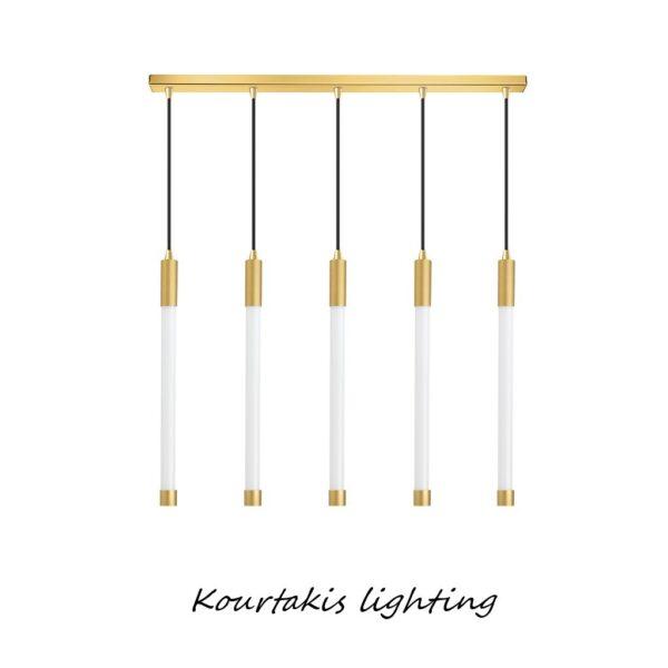 led φωτιστικό ράγα_μεταλλική με γυάλινους σωλήνες_μοντέρνα πεντάφωτη_luma