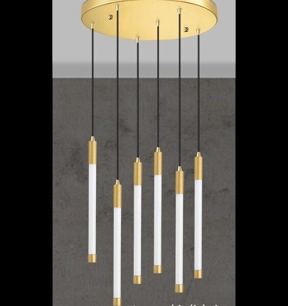 led φωτιστικό εξάφωτο_μεταλλικό με γυάλινους σωλήνες_luma