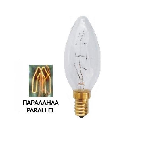 Λάμπα Edison E14 40Watt Filament Κεράκι Candle Θερμό Λευκό 2200Κ