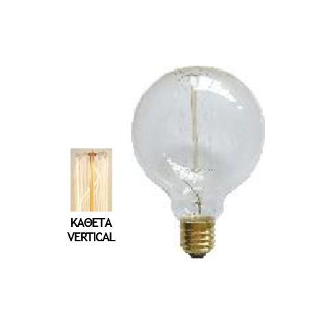 Λάμπα Edison E27 40Watt Filament Γλομπέ Globe Θερμό Λευκό 2200Κ