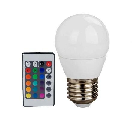 Led Λάμπα E27 4Watt Σφαιρική Smart 300Lumen RGB + Θερμό Λευκό 3000Κ