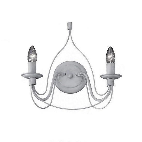 Απλίκα Τοίχου Ideal Lux Corte AP2 Μεταλλική Χειροποίητη Δίφωτη Λευκή
