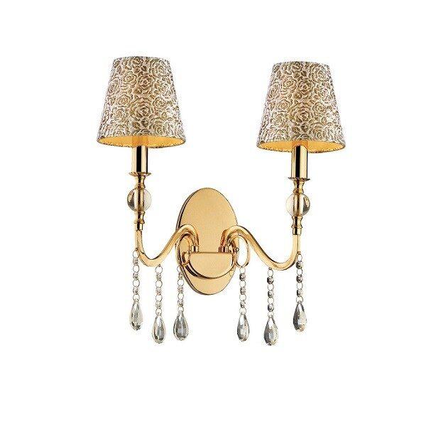 Απλίκα Επίτοιχη Ideal Lux Pantheon AP2 Μεταλλική με Κρύσταλλα και Υφασμάτινα Καπέλα Χρυσή