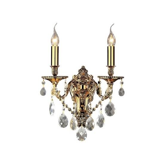 Απλίκα Τοίχου Ideal Lux Gioconda AP2 Μεταλλική με Κρύσταλλα Δίφωτη Χρυσό