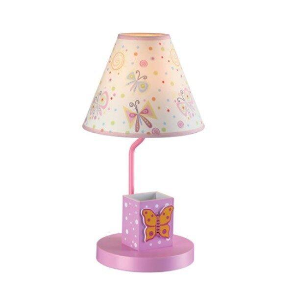 Φωτιστικό Παιδικό Επιτραπέζιο Μεταλλικό με Υφασμάτινο Καπέλο και MDF Ροζ