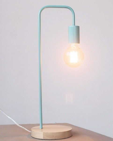 Φωτιστικό Επιτραπέζιο Μοντέρνο Μεταλλικό με Ξύλινη Βάση σε Δύο Χρώματα