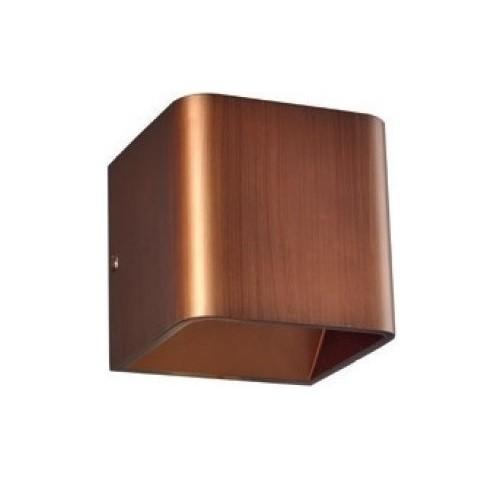 LED Επίτοιχο Φωτιστικό Μοντέρνο Μεταλλικό σε Απόχρωση Ξύλου με Θερμό Λευκό Φωτισμό
