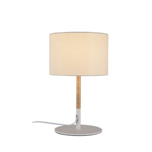 Μοντέρνο Επιτραπέζιο Φωτιστικό Μεταλλικό με Υφασμάτινο Καπέλο Λευκό