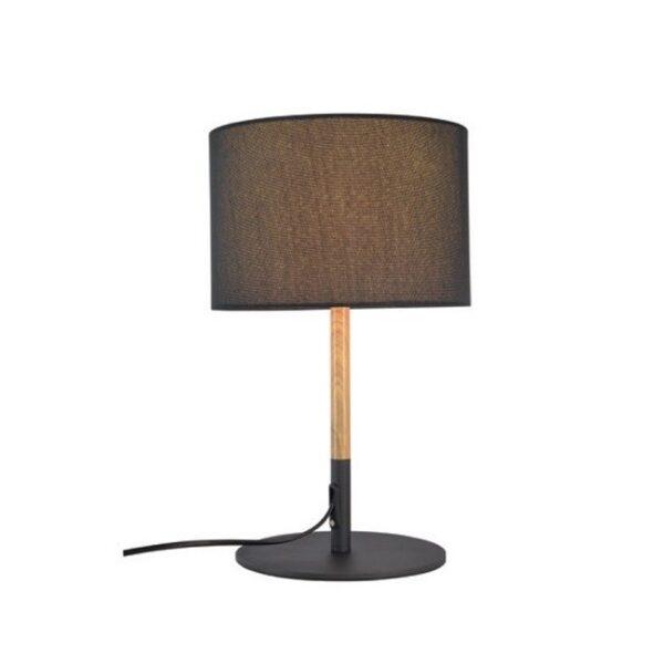 Επιτραπέζιο Φωτιστικό Μοντέρνο Μεταλλικό με Υφασμάτινο Καπέλο Μαύρο