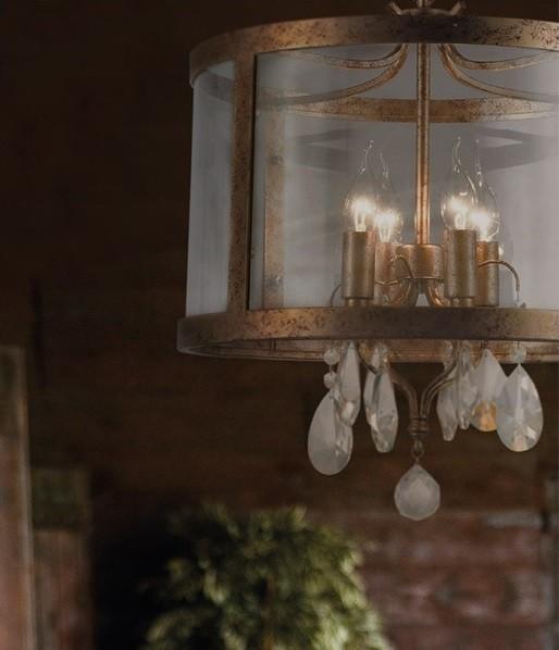 ACA Lighting Κρεμαστό Πολύφωτο Vintage Μεταλλικό με Γυαλί και Κρύσταλλα Ορειχάλκινο