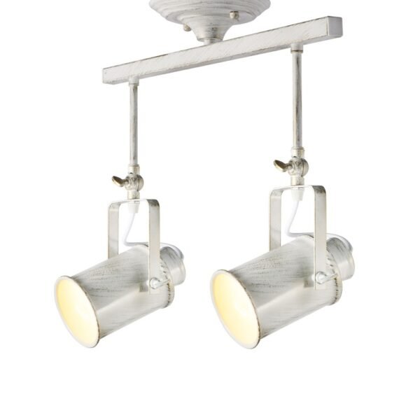 Μοντέρνο Φωτιστικό Οροφής Μεταλλικό Σποτ Δίφωτο Πατίνα Λευκό - Χρυσό