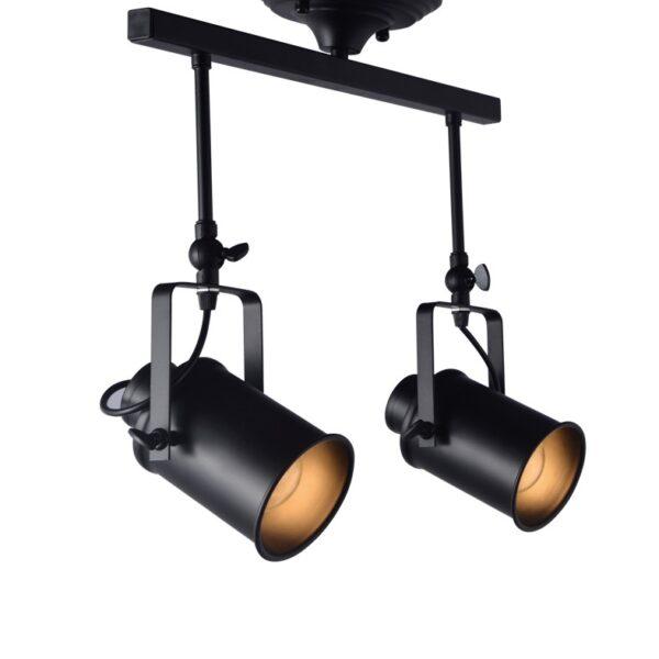 Φωτιστικό Μοντέρνο Οροφής Σποτ Μεταλλικό Δίφωτο Μαύρο