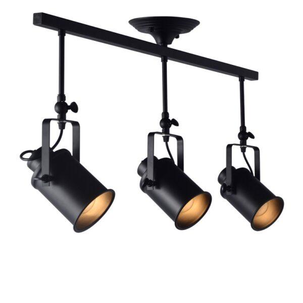 Φωτιστικό Σποτ Οροφής Μοντέρνο Μεταλλικό Τρίφωτο Μαύρο