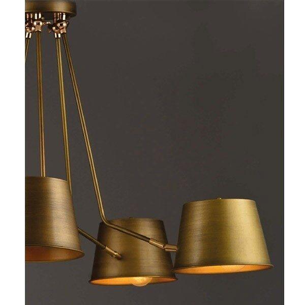 ACA Lighting Πολύφωτο Μεταλλικό Κρεμαστό Vintage Πεντάφωτο Ορειχάλκινο