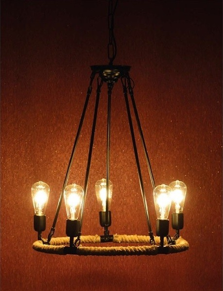 ACA Lighting Vintage Κρεμαστό Φωτιστικό Πεντάφωτο Μεταλλικό με Σχοινί