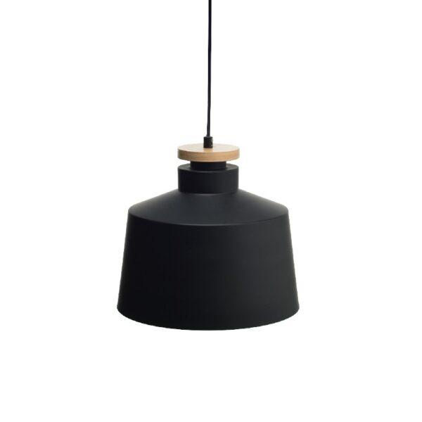 ACA Lighting Vintage Μονόφωτο Μεταλλικό Κρεμαστό Μαύρο Ματ