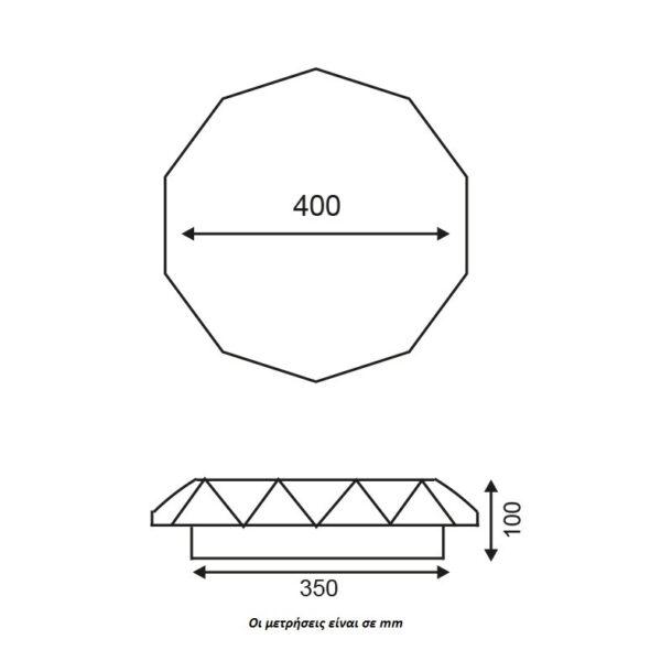 ACA Lighting LED Μοντέρνα Πλαφονιέρα Επίτοιχη Οροφής από Plexiglass σε Λευκό Cosmos