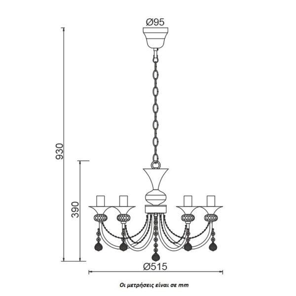 ACA Lighting Πολυέλαιος Κλασσικός Κρεμαστός με Κρύσταλλα Μεταλλικός Λευκός Ματ - Χρυσό Πεντάφωτος