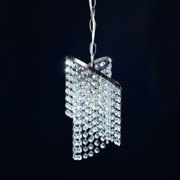 ACA Lighting Μοντέρνο Φωτιστικό Κρεμαστό με Κρύσταλλα και Μέταλλο Σατέν Νίκελ