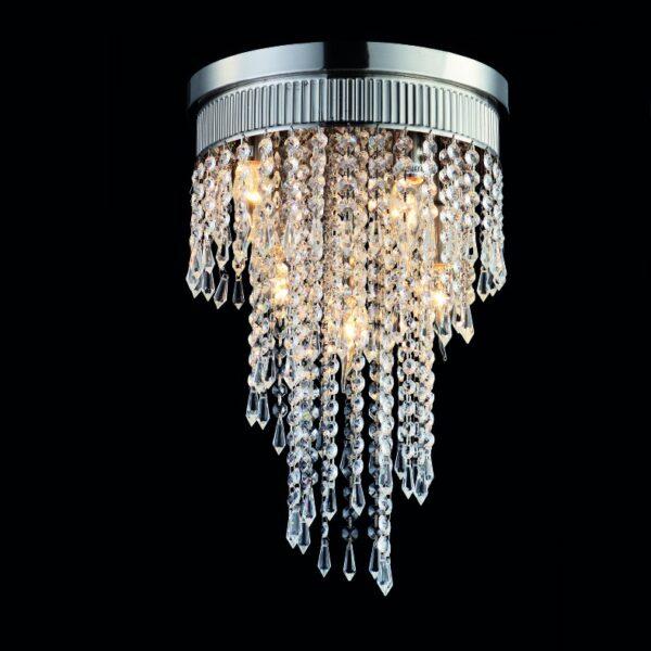 ACA Lighting Μοντέρνο Φωτιστικό Οροφής με Κρύσταλλα και Μεταλλική Βάση Σατέν Νίκελ σε Δύο Εκδόσεις