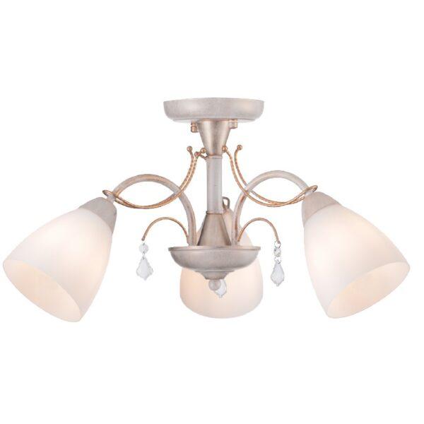 ACA Lighting Φωτιστικό Οροφής Μεταλλικό με Λευκό Γυαλί Τρίφωτο Κλασσικό
