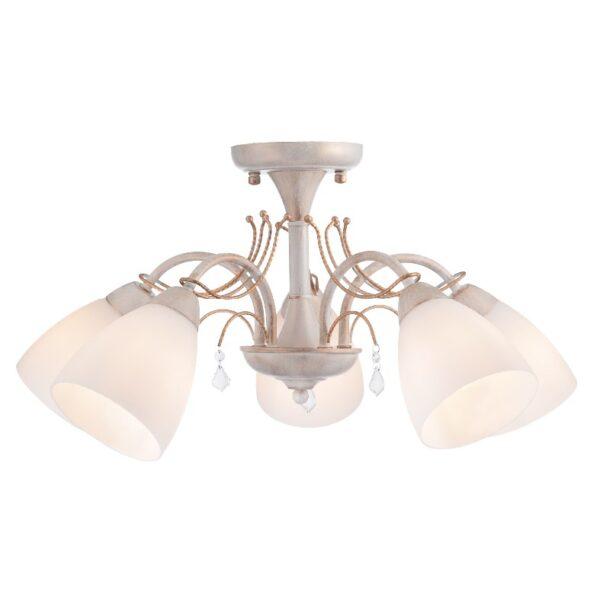 ACA Lighting Φωτιστικό Οροφής Μεταλλικό με Λευκό Γυαλί Πεντάφωτο Κλασσικό