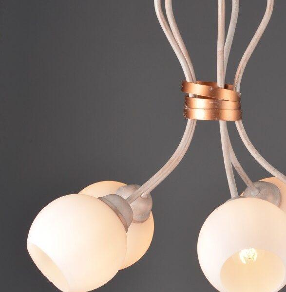 ACA Lighting Κλασσικό Φωτιστικό Οροφής Μεταλλικό με Γυάλινα Καπέλα Λευκό Πατίνα Πεντάφωτο