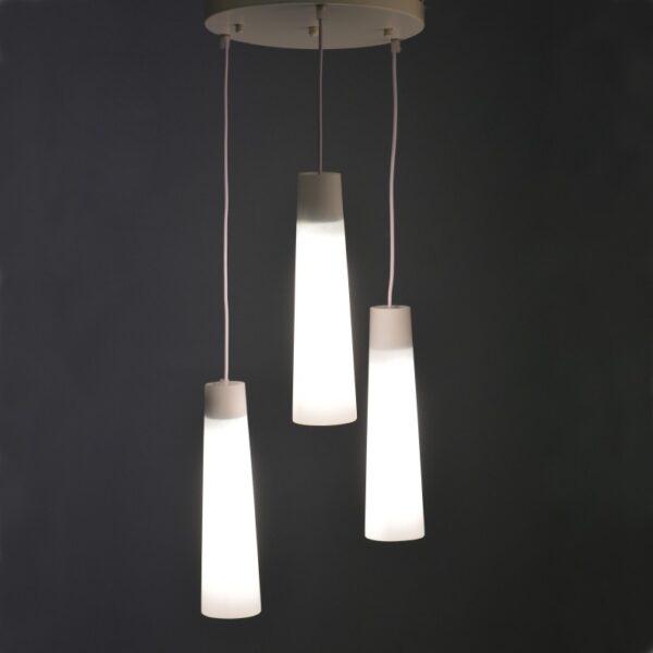 ACA Lighting Μοντέρνο Φωτιστικό Τρίφωτο Κρεμαστό Γυάλινο Λευκό