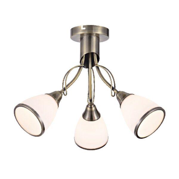 ACA Lighting Φωτιστικό Οροφής Κλασσικό Μεταλλικό με Γυάλινα Καπέλα Τρίφωτο Μπρονζέ