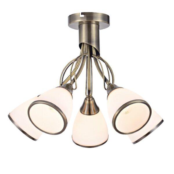 ACA Lighting Φωτιστικό Οροφής Κλασσικό Μεταλλικό με Γυάλινα Καπέλα Πεντάφωτο Μπρονζέ
