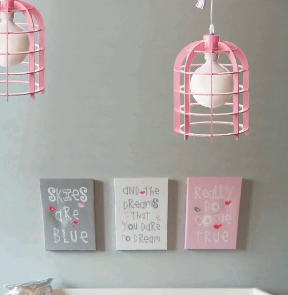 ACA Lighting Φωτιστικό Παιδικό Κρεμαστό Πλαστικό με Ξύλινα Σχέδια Μονόφωτο Ροζ