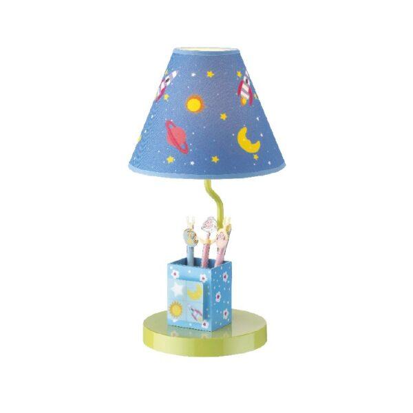 ACA Lighting Φωτιστικό Παιδικό Επιτραπέζιο Μεταλλικό με MDF και Υφασμάτινο Καπέλο με Σχέδια του Διαστήματος