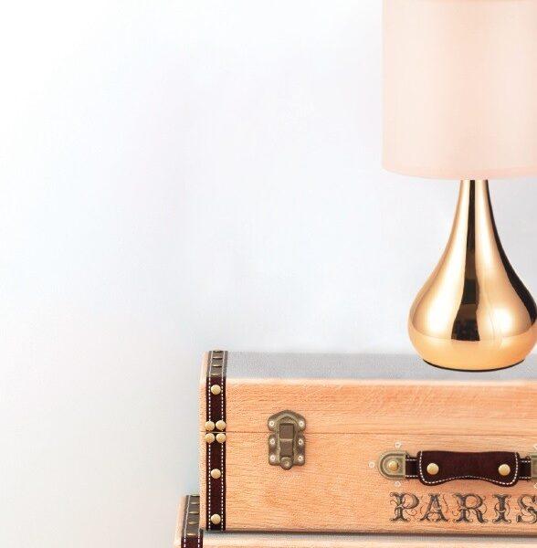 ACA Lighting Μοντέρνο Επιτραπέζιο Φωτιστικό Αφής Ντιμαριζόμενο Μεταλλικό με Ροζ Παλ Υφασμάτινο Καπέλο