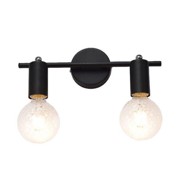 ACA Lighting Σποτ Επίτοιχο Οροφής Μεταλλικό Δίφωτο Περιστρεφόμενο Μαύρο