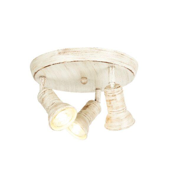 ACA Lighting Σποτ Επίτοιχο Οροφής Μεταλλικό Τρίφωτο Περιστρεφόμενο Λευκό Αντικέ Στρογγυλό