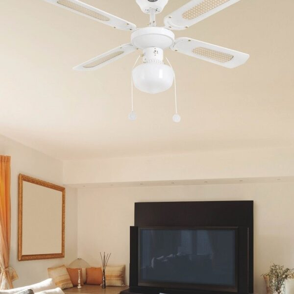 Ανεμιστήρας Οροφής με Φως 3 Ταχυτήτων Μονόφωτος Λευκός Faro Aruba